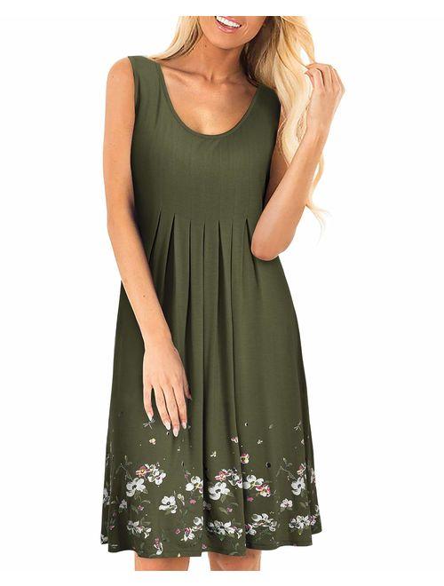 KILIG Women Summer Casual Dress Loose Print Pleated Sleeveless Mini Vest Sun Dresses for Beach Wedding Party