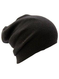 ALL 1N ALL Slouchy Beanie Hat Ski Snowboard Ribbed Beanie Black One Size