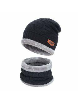 Men's 2-Pieces Winter Beanie Hat Scarf Set Warm Knit Hat Thick Fleece Lined Winter Hat & Touchscreen Gloves for Men Women