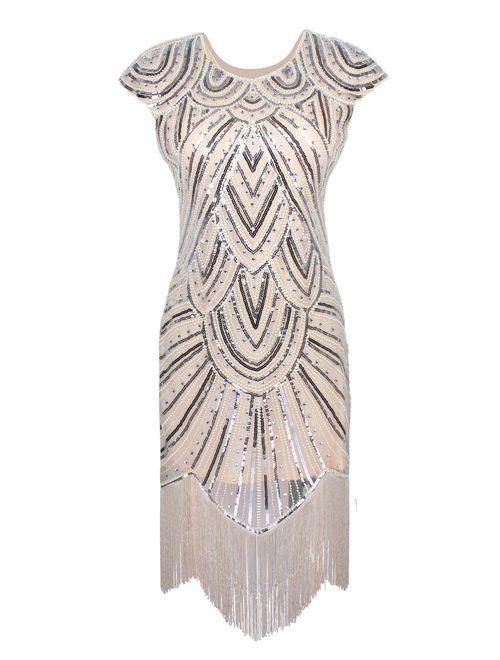 PrettyGuide Women's 1920s Flapper Dress Crystal Sequin Embellished Fringed Gatsby Dress
