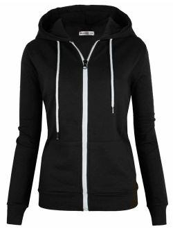 MAJECLO Women's Slim Fit Casual Full-Zip Hooded Lightweight Long Sleeve Sweatshirt