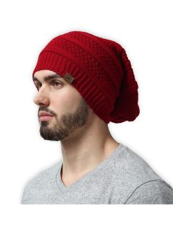 Slouchy Cable Knit Beanie for Men & Women - Winter Toboggan Hats for Cold Weather - Thick, Warm & Stylish Chunky, Oversized Slouch Beanie Cap - Serious Beanies for Seriou