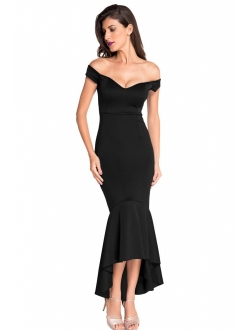 Astylish Womens Evening Dress Off Shoulder Flouncing Mermaid Formal Prom Gowns