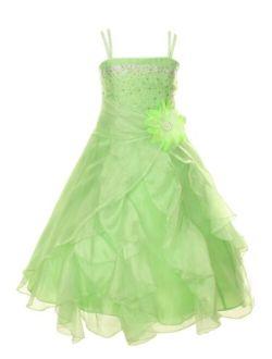 Cinderella Couture Girls Cascading Crystal Organza Rhinestone Party Dress