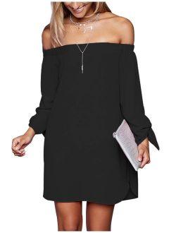 just quella Women's Casual Off The Shoulder Loose Long Dress 8650