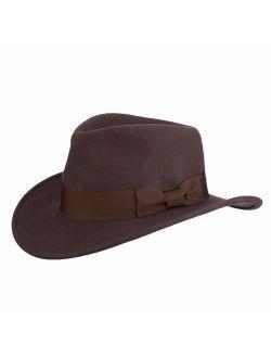 Indiana Jones Men's Wool Felt Water Repellent Outback Fedora with Grosgrain
