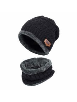 XYIYI Kids Winter Hat and Scarf Set, 2Pcs Warm Knit Beanie Cap and Scarf for 5-14 Years Old