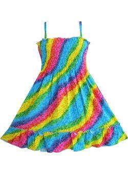 Girls Dress Rainbow Smocked Halter