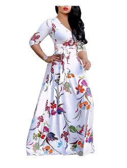 SheKiss Sexy V Neck Floral Long Sleeves Maxi Dresses Casual Loose Party Prom Ladies Outfits