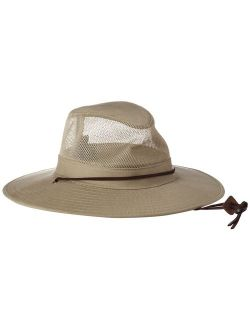 Dorfman Pacific Men's Brushed Twill-and-Mesh Safari Hat with Genuine Leather Trim