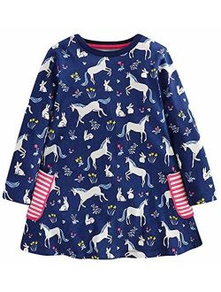 Fiream Toddler Girls Floral Printing Cotton Longsleeve Casual Dresses