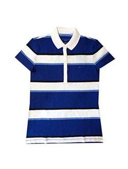 Women's 5 Button Striped Polo Shirt