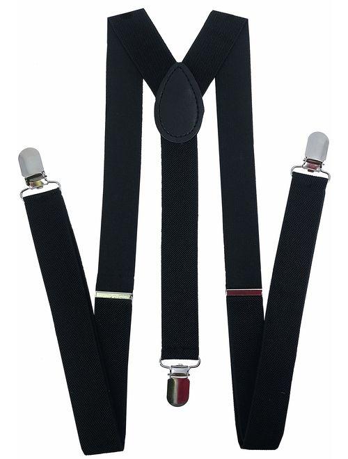 Women Men Wide Strap Clip On Elastic Solid Braces Evening Accessories Suspender