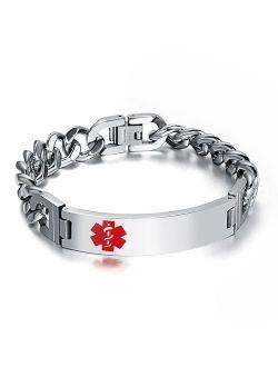 VNOX Free Engraving-Men's Medical Alert ID Bracelet Tag Stainless Steel Link Chain Wrist