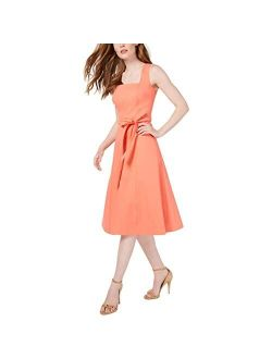 Women's Sleeveless Square Neck Fit & Flare With Self Tie Belt Dress