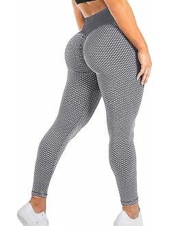 Women's High Waist Tummy Control Yoga Pants Slimming Booty Leggings Workout Running Butt Lift Tights