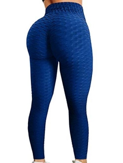 Ruched Butt Lifting High Waist Textured Yoga Pants Tummy Control Workout Leggings