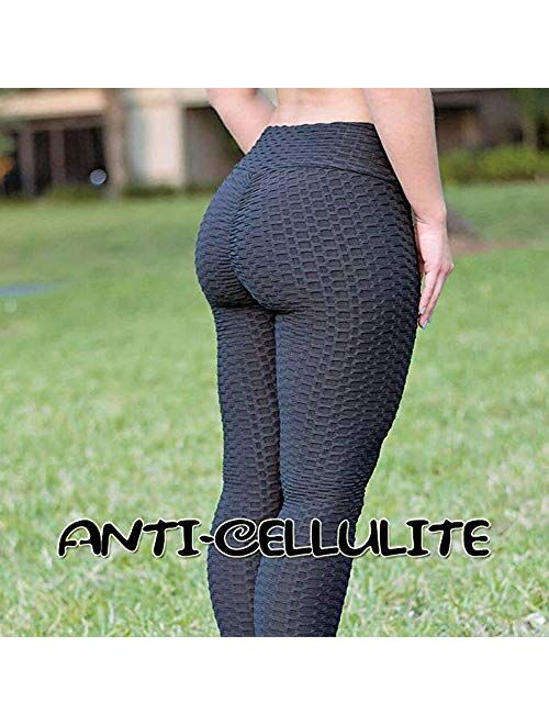 A AGROSTE Ruched Butt Lifting High Waist Textured Yoga Pants Tummy Control Workout Leggings