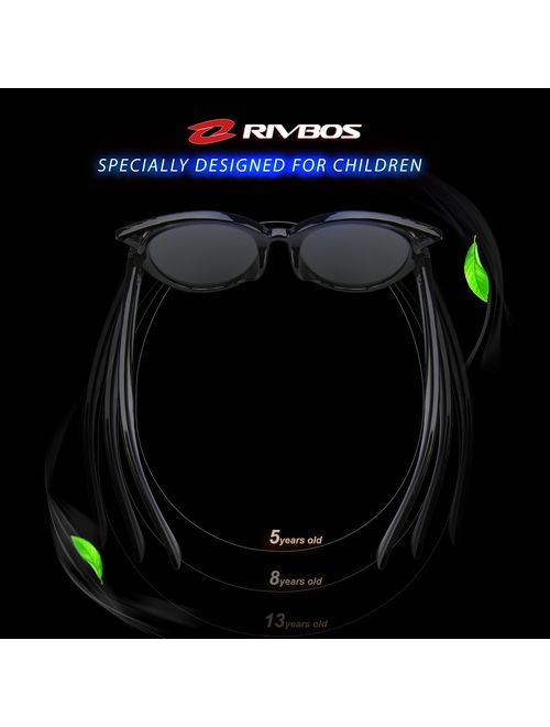 RIVBOS Rubber Kids Polarized Sunglasses With Strap Glasses Shades for Boys Girls Baby and Children Age 3-10 RBK002