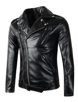 Beninos Mens Faux Leather Motorcycle Jacket