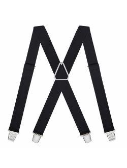 HDE Suspenders for Men 1.5 inch Wide Suspender Clips 1920s Men Clothing