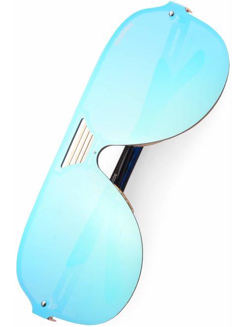 Verdster Blade Mirrored Oversized Aviator Sunglasses - Flat Frame - Blue