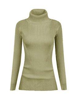 v28 Women Stretchable Turtleneck Knit Long Sleeve Slim Fit Sweater