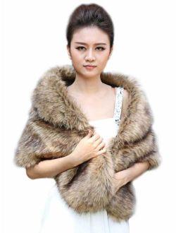 Aukmla Sleeveless Faux Fur Shawl Wedding Fur Wraps and Shawls Bridal Fur Stole for Brides and Bridesmaids