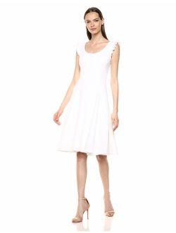 Women's Sleeveless Scoop Neck Midi Dress With Ruffle Trim Straps