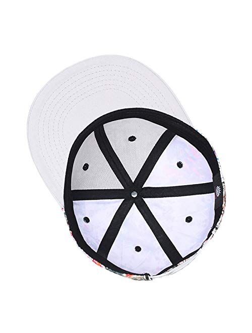 Quanhaigou Purple Galaxy Snapback Hat Unisex Trucker Hat Hip Hop Plaid Flat Bill Brim Adjustable Baseball Cap