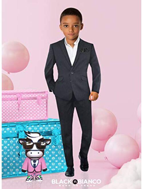 Black n Bianco Signature Boys' Slim Fit Suit Complete Outfit