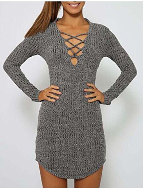 DREAGAL Women's Plunge Neck Lattice Lace Up Long Sleeve Bodycon Mini Dress