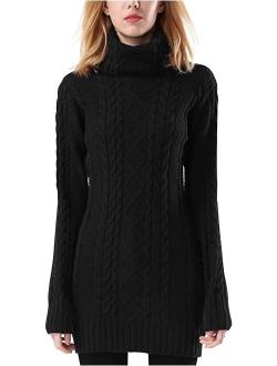 Rocorose Women's Turtleneck Sweater Long Sleeve Slim Fit Solid Pullovers