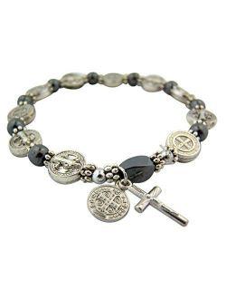 CB Silver Tone Saint Benedict Medal Hematite Bead Rosary Bracelet, 7 1/2 Inch