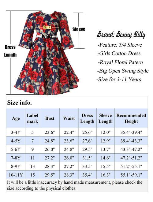 BONNY BILLY Girls Classy Vintage Floral Swing Kids Party Dresses