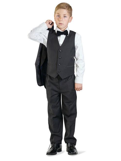 Boys Black Tuxedo Suit 5 Piece Set Shawl Lapel Floral 1 Button Formal Kids Dress