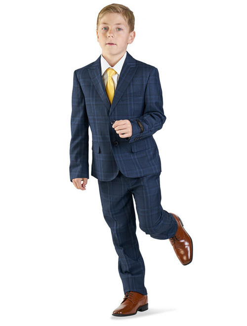 Boys Suit Tuxedo Navy Blue 5 Piece Set Windowpane Plaid Kid Dress Formal AZARMAN