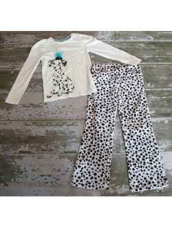 NWOT Gymboree Long Sleeve Dalmatian Dog Graphic Shirt Spot Velour Pants Set 9 10