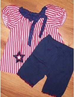 Girl's 4th of July MIS-TEE-V-US Swing Top & Bike Shorts NWT Size 5/6