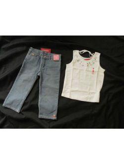 Gymboree GLAMOUR SAFARI Capri Pants Jeans Top Shirt 9