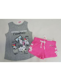 NWT Justice Girls Outfit Size 6/7 or 18/20 Unicorn Tank Top Pink Lace Up Shorts