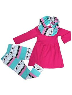 Toddler Girl Pink Winter Deer Scarf Leggings Boutique Outfit Clothing
