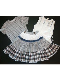Jottum Euro boutique girl TILDE plaid skirt white tank top tee shirt 140 8 9 10