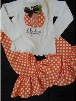 Girls fall pumpkin outfit ruffle pants applique tshirt custom monogrammed