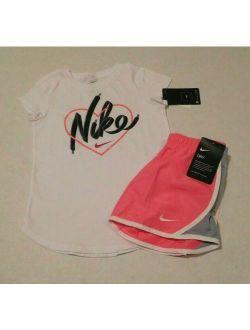 2pc Nike Girls Heart Top & Shorts Set Sz 6x