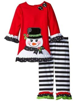 NEW Rare Editions Girls RED BLACK STRIPE SNOWMAN Size 8 CHRISTMAS Top Pants NWT