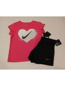 2pc Nike Pink Sparkly Heart Top & Shorts Set Sz 6