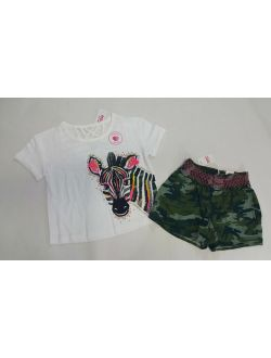 NWT Justice Girls Size 6/7 12 14/16 or 18/20 Zebra Sequin Top & Camo Shorts