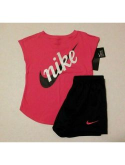 NWT 2pc Nike Sparkly Logo Top & Black Shorts Set sz 6