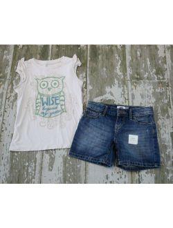 PEEK Wise Beyond My Years Owl Knit Shirt NWT OLD NAVY Denim Jean Shorts Set 6 7